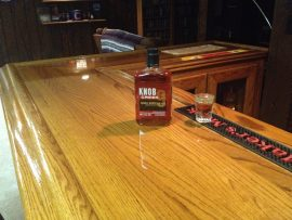 oak home bar - finished top with Knob Creek