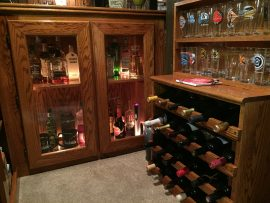 Oak home bar - cabinets