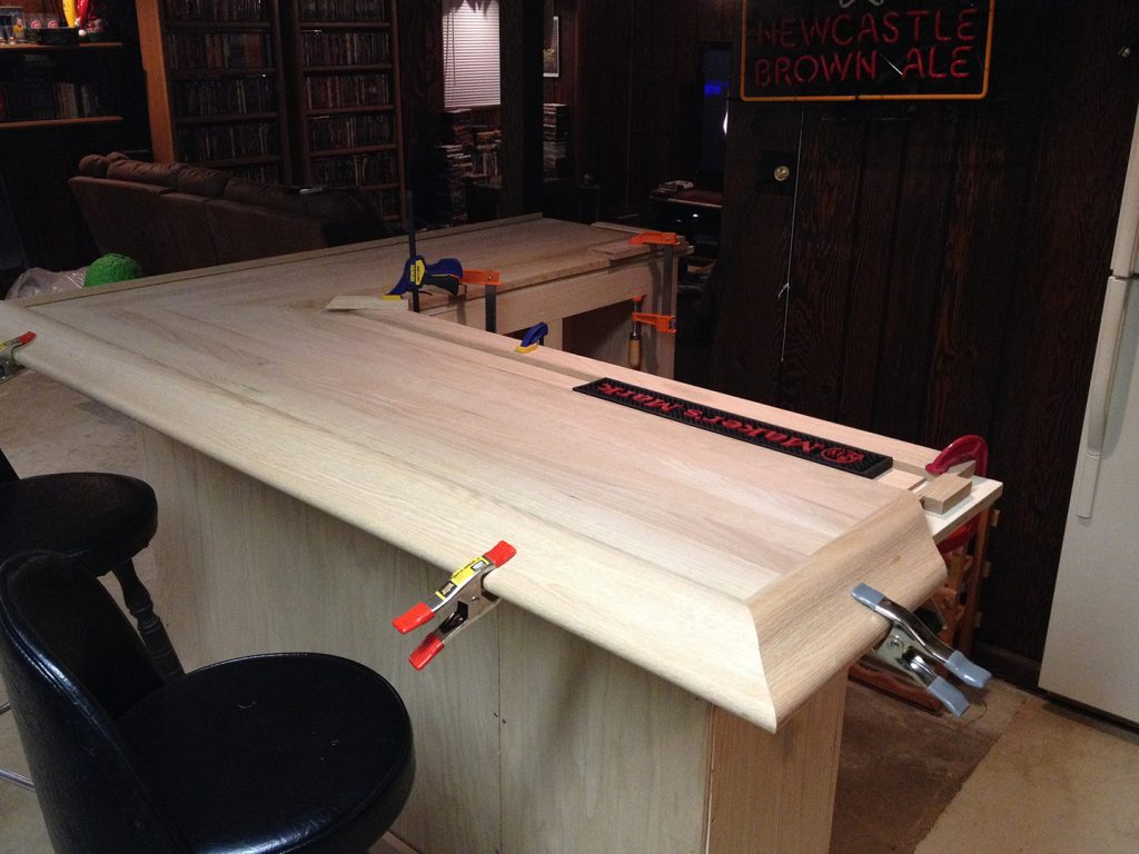 oak home bar - creating the spill rail