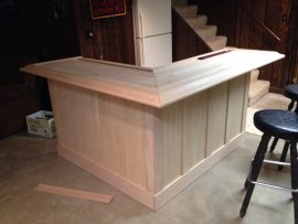 unfinished home oak bar with slats