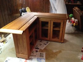 custom home oak bar - stained