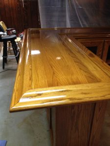 Oak home bar top - varnished