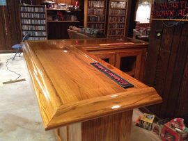 oak home bar - varnished top