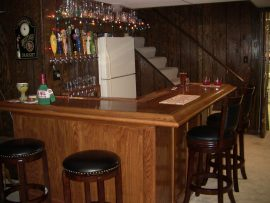 custom oak home bar - corner view
