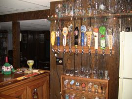 oak home bar - tap display in place